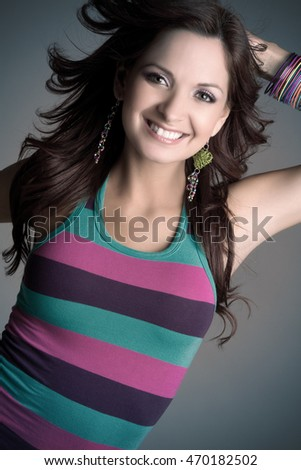 Beautiful happy young woman smiling