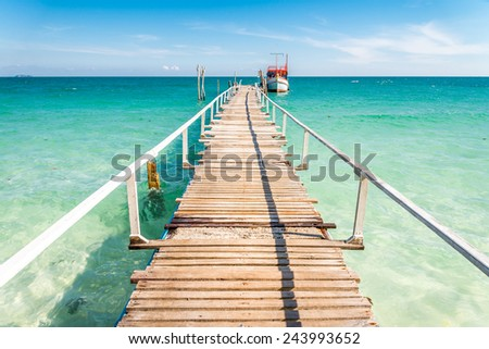 Beautiful harbour bridge in island of Thailand - stock photo