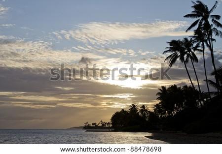 Beautiful Hawaiian beach sunset with majestic palm trees - stock photo