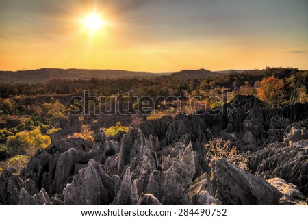 Beautiful HDR view on the unique geography at the Tsingy de Bemaraha Strict Nature Reserve in Madagascar - stock photo