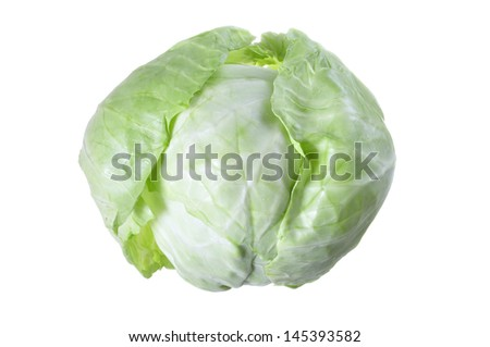 Beautiful head of fresh green cabbage with loose leaves isolated on white background