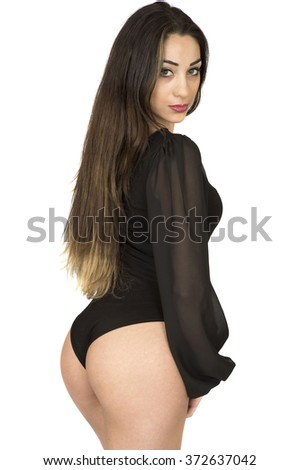 Beautiful Healthy Fit Young Woman Posing in a Black Leotard Lingerie Set Against a White Background - stock photo
