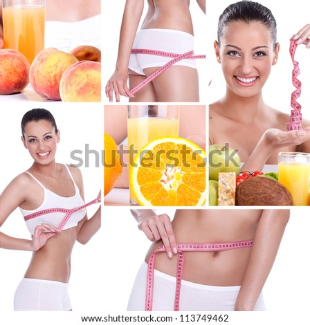 beautiful healthy lifestyle theme collage made from few photographs, weightloss - stock photo