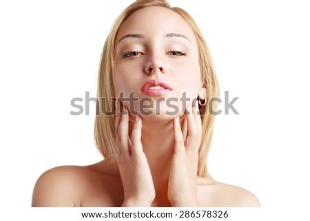 Beautiful Healthy Woman Face Clean Skin - stock photo