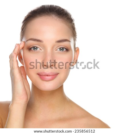 Beautiful healthy woman touching her skin, isolated