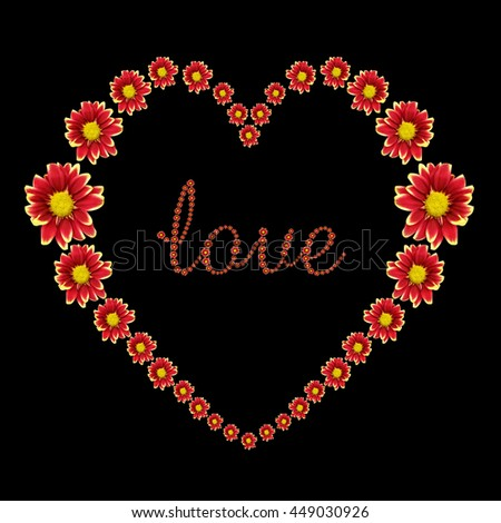 Beautiful heart of red flower and love text isolated on black background. Saved with clipping path - stock photo