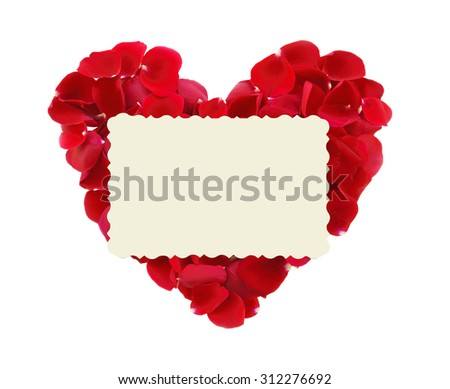 beautiful heart of red rose petals and greeting card isolated on white - stock photo