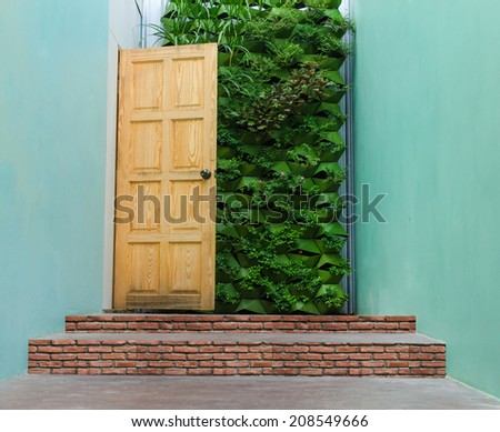 Beautiful Hidden Painted Peeling Door to Home. - stock photo