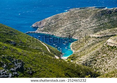Beautiful hidden port in the lagoon of Porto Vromi on Zakynthos island in Greece, Europe - stock photo