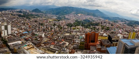 Beautiful high angle panorama view of Manizales city in Colombia coffee zone, South America - stock photo
