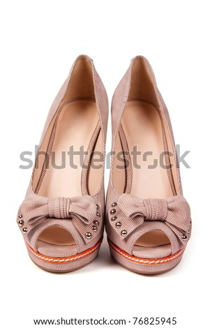 Beautiful high heel shoes  isolated on white background - stock photo
