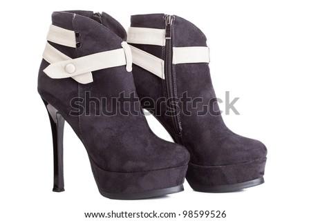 Beautiful high heels platform pump shoe in italian luxury black leather. - stock photo