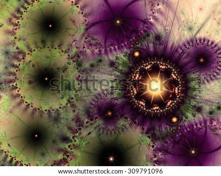 Beautiful high resolution abstract flower and star background in dark vivid sepia tinted green,purple,yellow