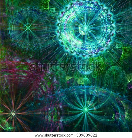 Beautiful high resolution abstract flower and star background with four large stars (flowers) with decorative rings, all in glowing teal,green,pink,blue