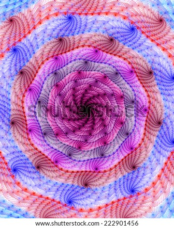 Beautiful high resolution spiral galaxy-like wallpaper with a dark shadowy black center surrounded by bright decorative blue, red and pink rings with decorative spirals - stock photo