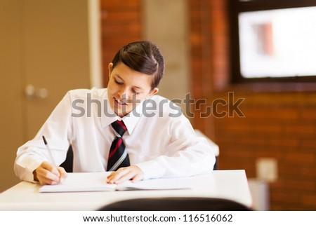 beautiful high school girl studying in classroom - stock photo