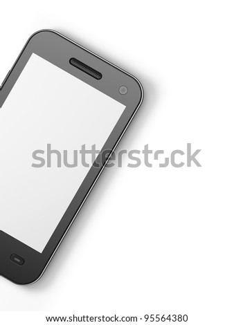 Beautiful highly-datailed black smartphone, 3d render. Smart phone isolated on white - stock photo