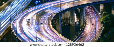 Beautiful highway interchange - stock photo