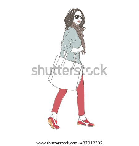 Beautiful hipster young woman in a fashion jacket and glasses with big bag and scarf. Hand drawn illustration. - stock photo