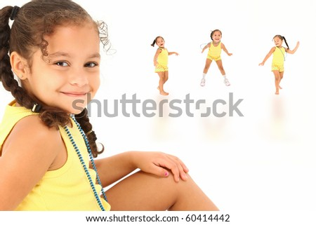 Beautiful hispanic african american girl happy composite over white background. - stock photo