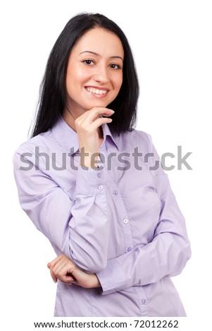 Beautiful hispanic businesswoman isolated on white background - stock photo
