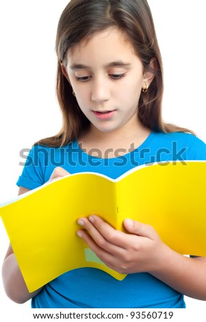 Beautiful hispanic girl taking notes on a school notebook isolated on white - stock photo