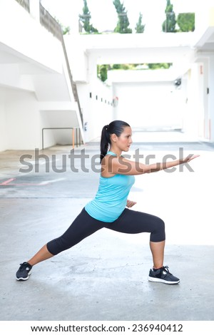 Beautiful hispanic sport woman demonstrating tai chi stance  'parting horse mane', outdoor. Concept of healthy lifestyle. - stock photo