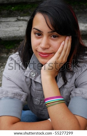 Beautiful Hispanic teenage girl - stock photo