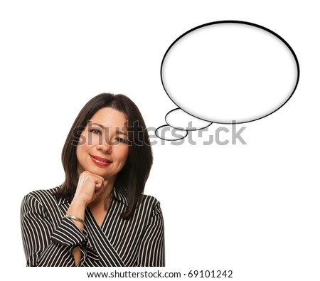 Beautiful Hispanic Woman and Blank Thought Bubbles and Isolated on a White Background. - stock photo