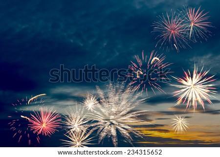 Beautiful holiday fireworks - stock photo
