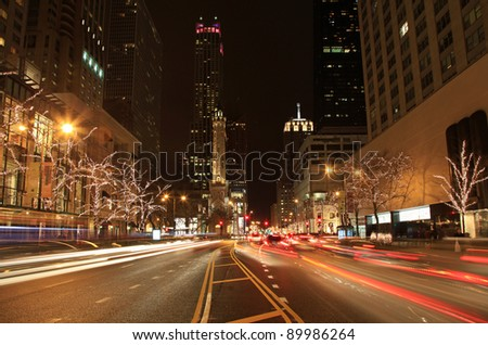 Beautiful Holiday Lights on Michigan Avenue in Chicago - stock photo