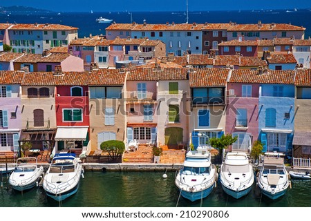 Beautiful holiday marina in Port Grimaud, France. - stock photo
