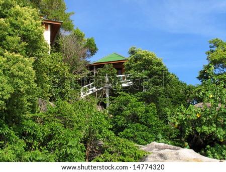 Beautiful home at the beach, Ko Tao Island, Thailand - stock photo