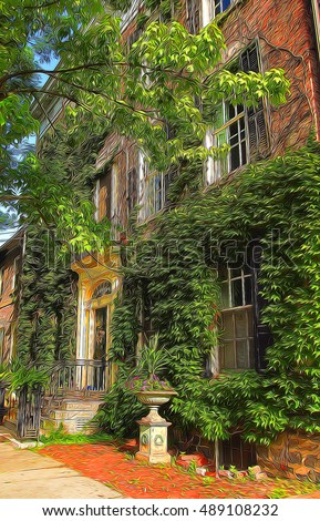 Beautiful home covered in ivy in The Stockade historical neighborhood of Schenectady , New York