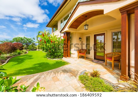 beautiful home exterior luxury home sunny blue sky - Luxury House Exterior