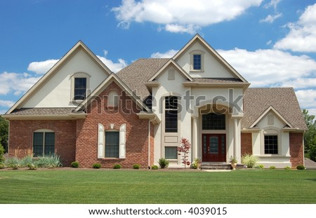 Beautiful new house on hilltop canada stock photo for New beautiful home