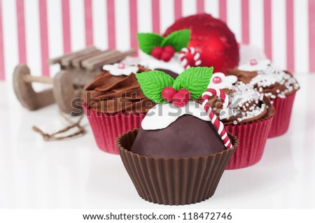 beautiful homemade Christmas cupcakes - stock photo