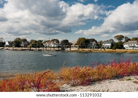 Beautiful homes along the coastline in Westport, CT - stock photo