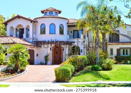 Beautiful homes estates santa monica city stock photo for Beautiful homes and great estates pictures