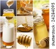 beautiful honey collage made from six photographs - stock photo