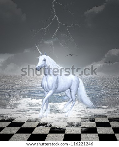 Beautiful horse gallops in a surreal seascape - digital painted style - stock photo