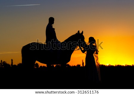 Beautiful horse with couple silhouette on sunset at wedding day - stock photo