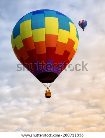 Beautiful hot air balloon in the sky - stock photo