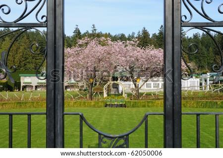 Beautiful house beside the italian garden, victoria, vancouver island, canada - stock photo