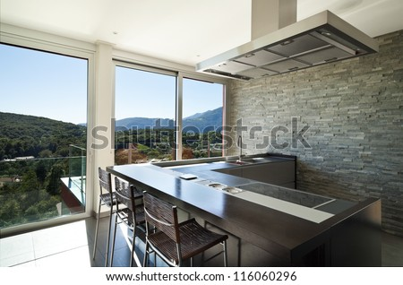 beautiful house, modern style, kitchen - stock photo