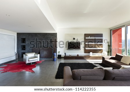 beautiful house modern style living room stock photo 114222355