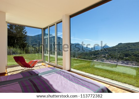 beautiful house, modern style, room view from the bedroom - stock photo