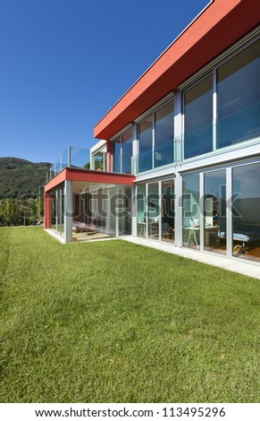 beautiful house, modern style, view from the garden - stock photo