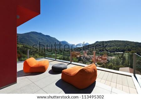 beautiful house, modern style, view from the veranda - stock photo