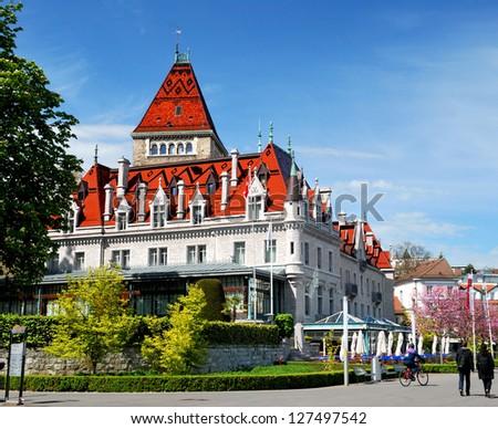 Beautiful house on Lake Geneva, Switzerland. - stock photo